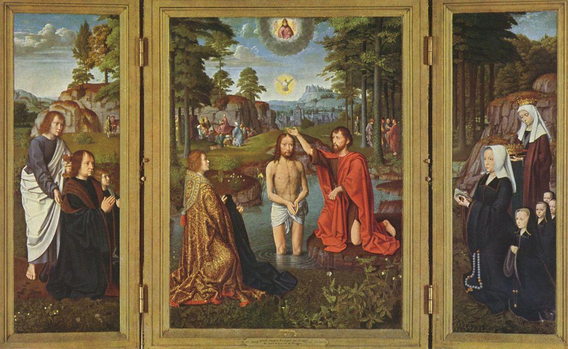 Герард Давид. Крещение, с донаторами и их святыми