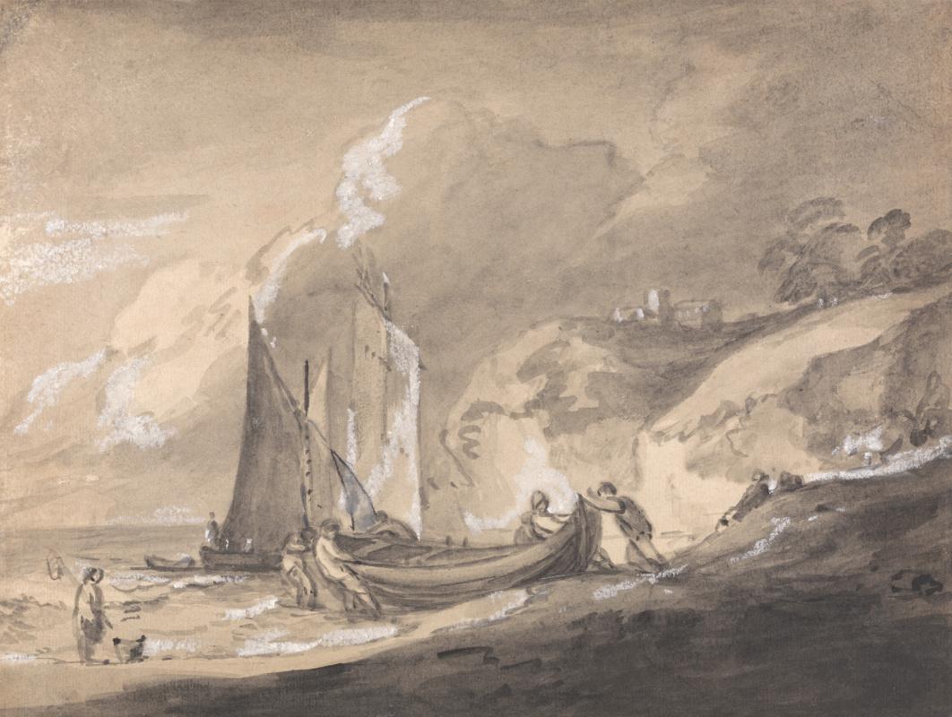 Thomas Gainsborough. Coastal landscape with boats