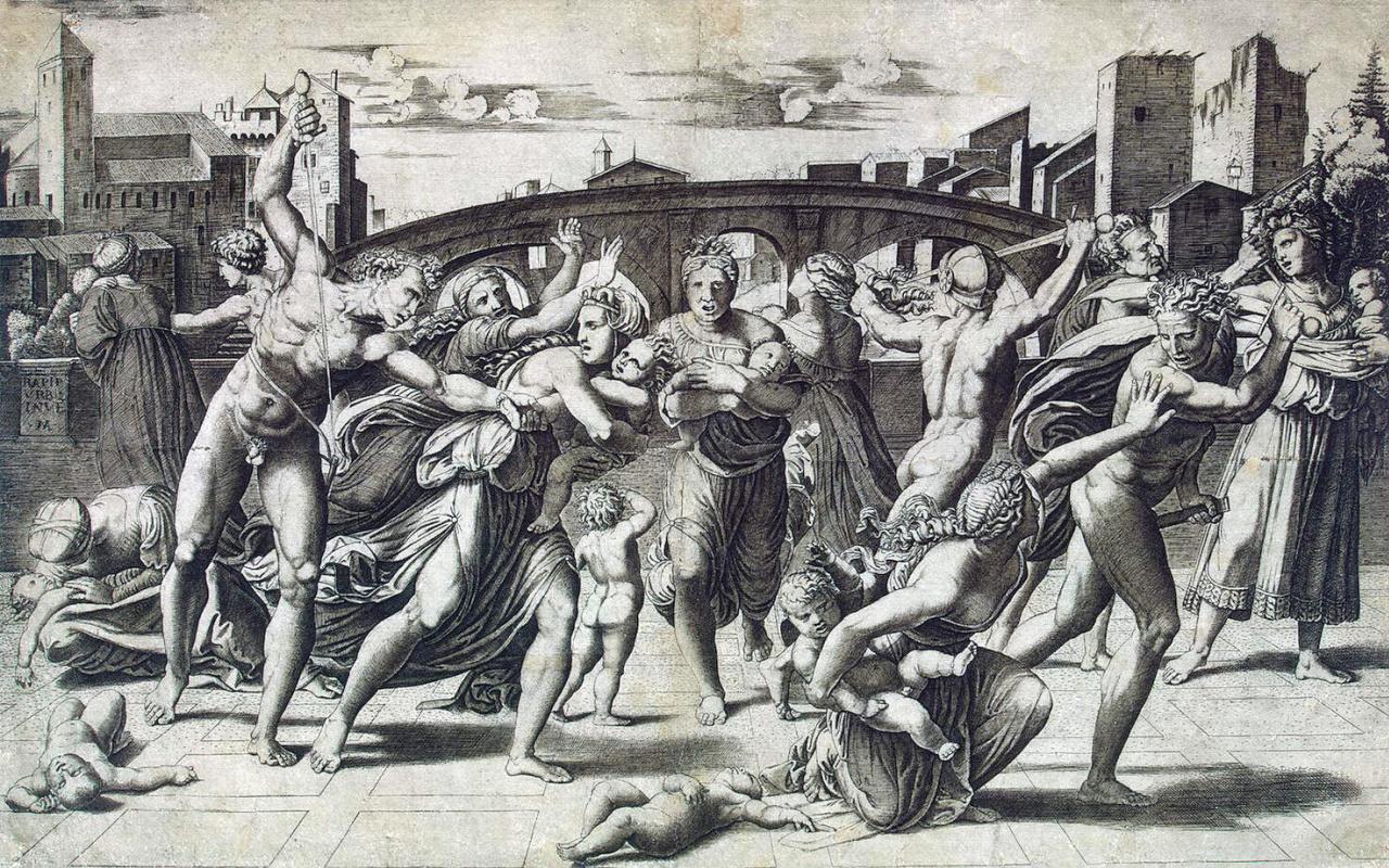 Маркантонио Венециано Агостино Раймонди. Избиение младенцев