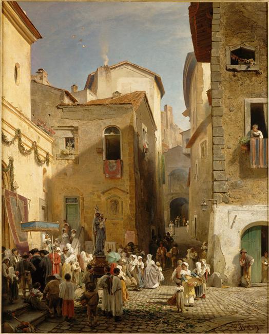 Oswald Achenbach. Une fête à Genazzano (Etats romains)