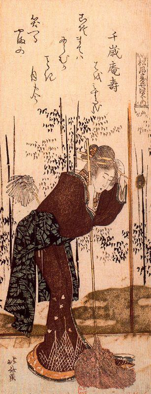 Кацусика Хокусай. Опираясь на метлу