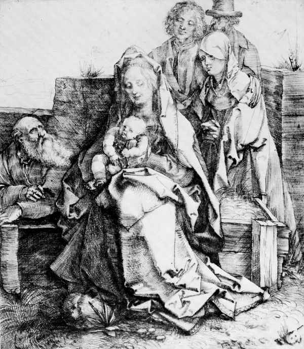 Альбрехт Дюрер. Святое семейство со святыми Иоанном, Магдалиной и Никодимом
