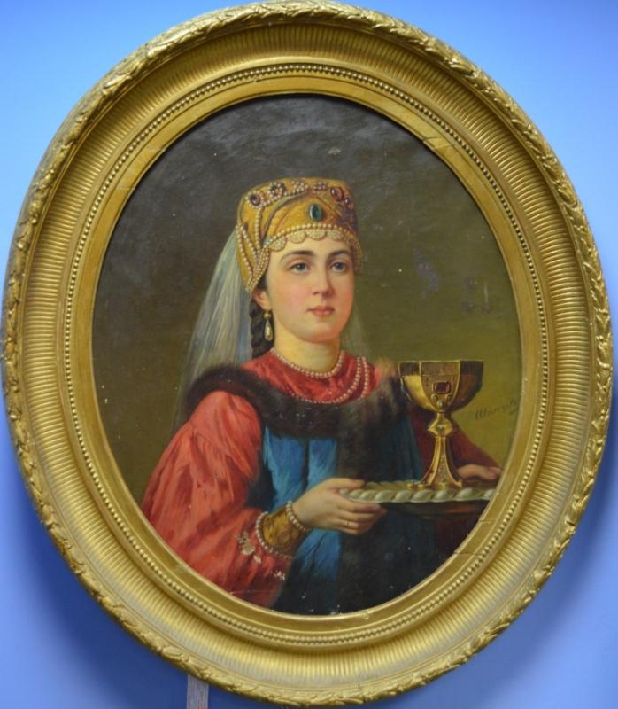 Павел Саввич Шильцов. Портрет женщины в русском наряде с кубком
