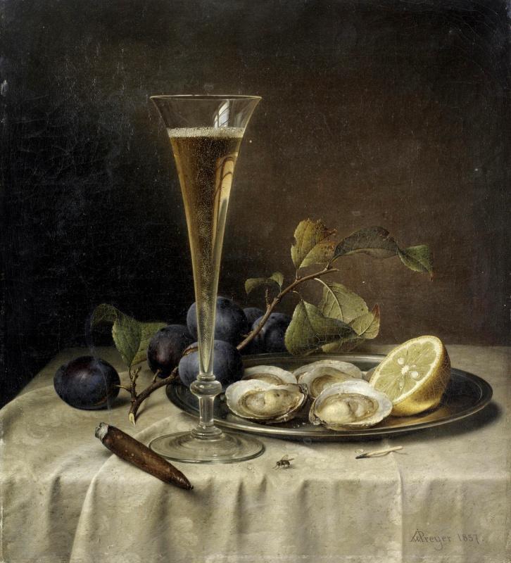Иоганн Вильгельм Прейер. Натюрморт с шампанским и устрицами. 1857
