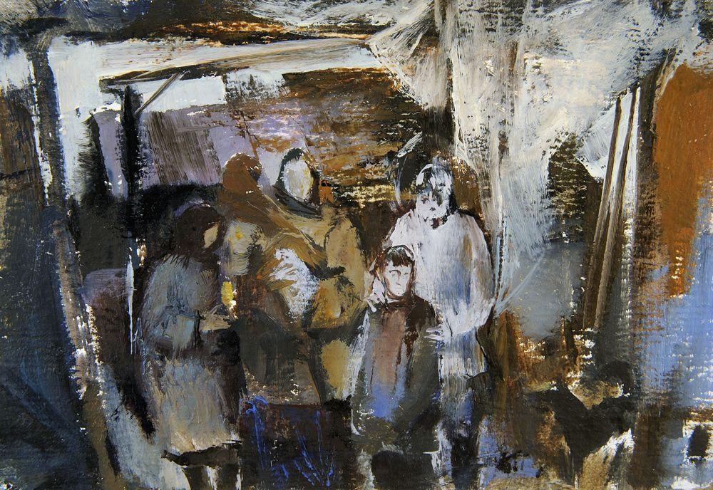 Alexander Shevelyov. The family of a fisherman. Oil On Cardboard.13,8 # 20 see 1989.Family of the fisherman. A cardboard, Oil .13,8 # 20 cm. 1989
