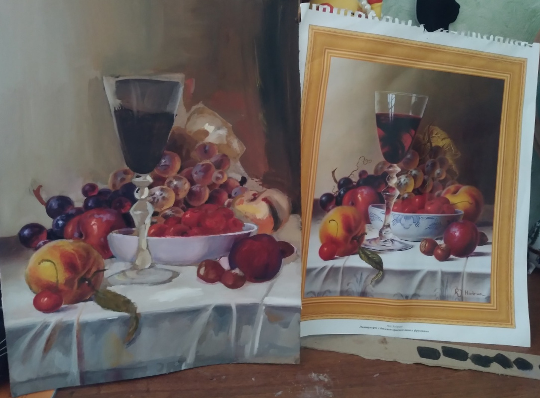 Still life with a glass of red wine and fruit (copy)
