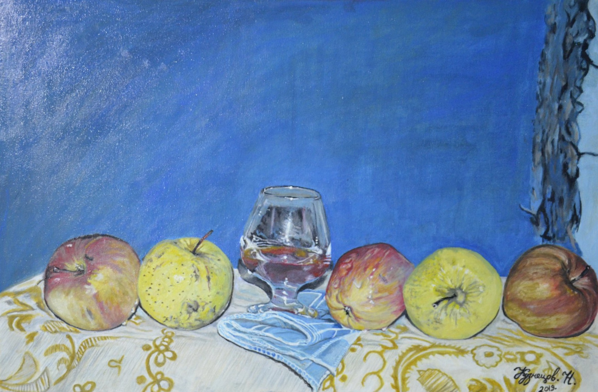 Kuznetsov.N. Apples and a glass