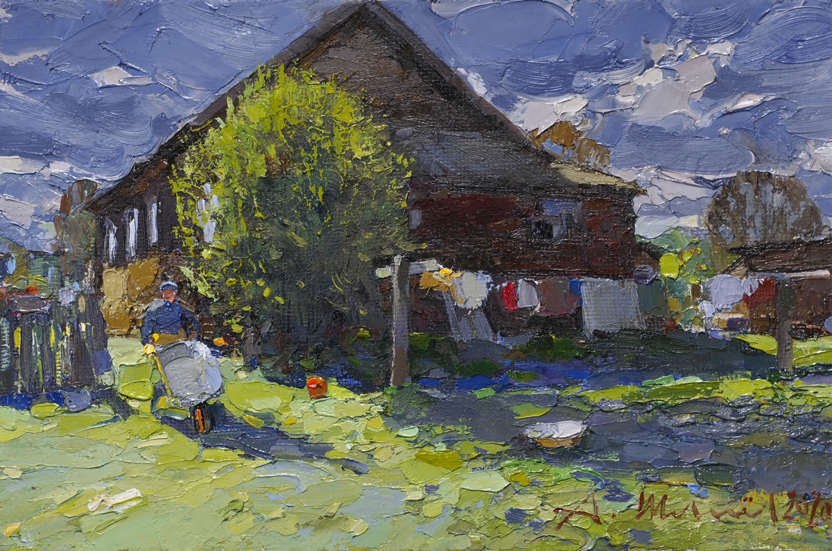 Alexander Shevelyov. Autumn in the village. Oil on canvas, 18.7 x 28.3 cm.2020