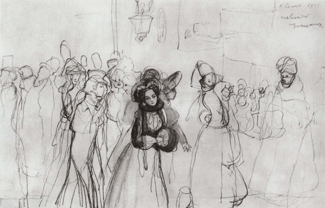 """Konstantin Somov. Sketch illustration for the story N.In. Gogol's """"Nevsky Prospekt"""""""