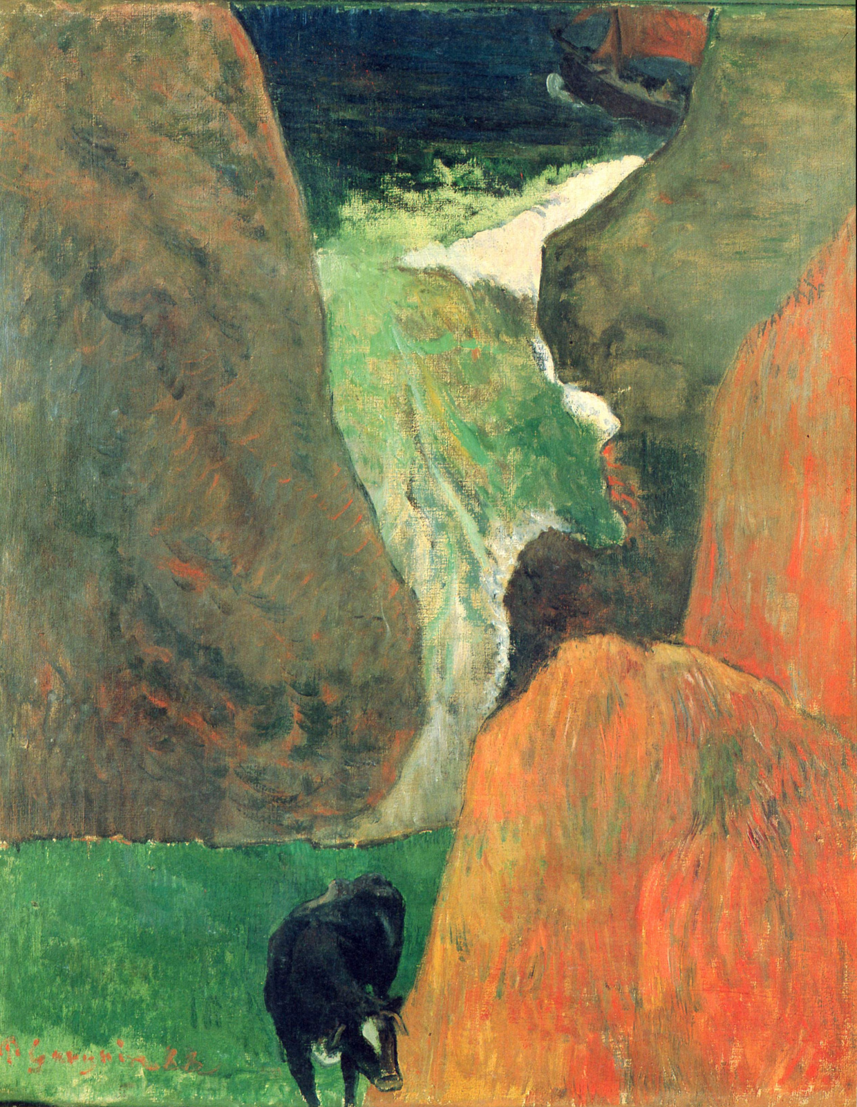 Paul Gauguin. Seascape with cow on the edge of a cliff