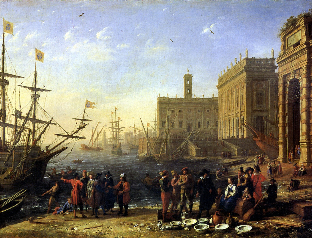 Claude Lorrain. A view of the Harbor with the Capitol