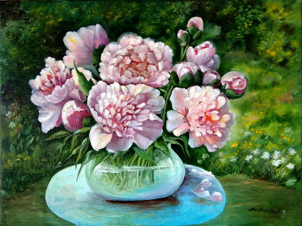 Marina Vladimirovna Patrikeeva. Bouquet of peonies in the garden