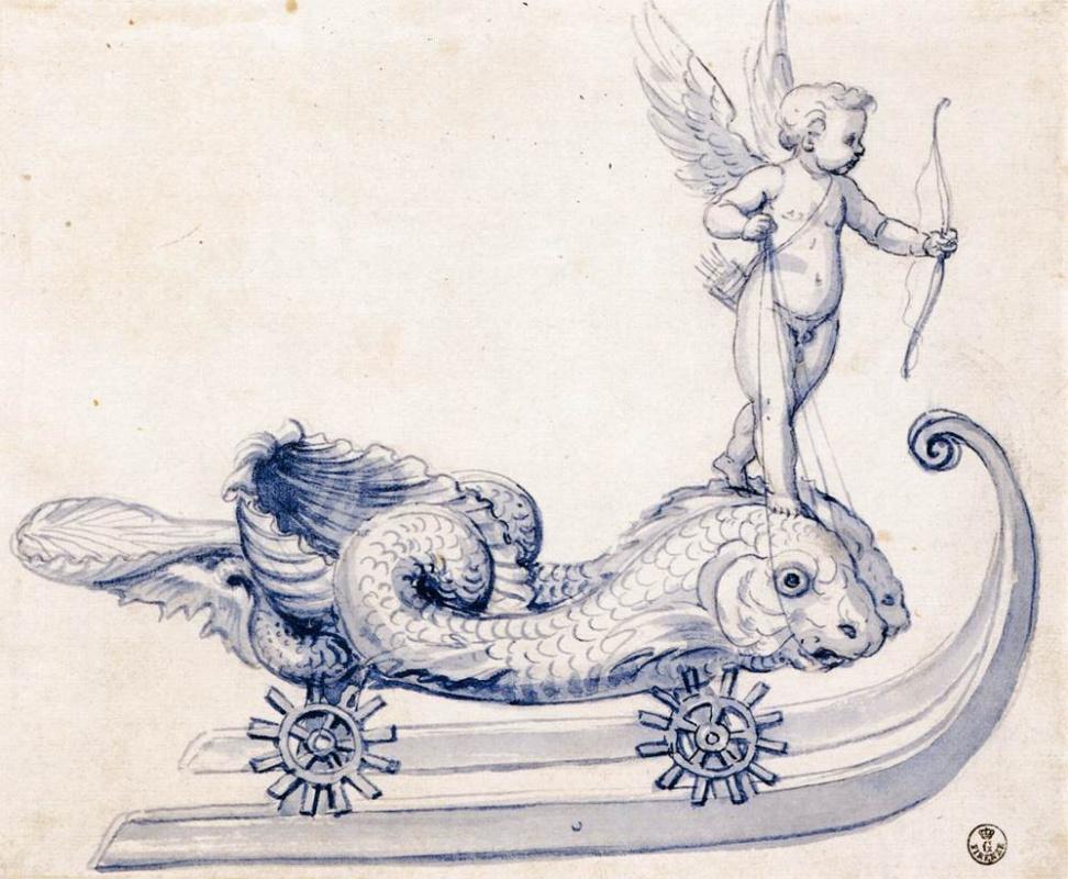 Джузеппе Арчимбольдо. Сани с амуром и рыбами. Эскиз