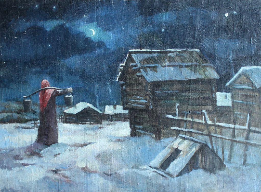 Natalia Alexandrovna Romashina. Moonlit night in the village