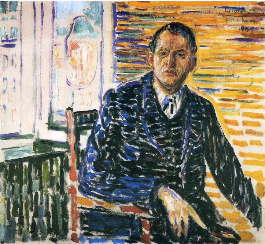 Edward Munch. Self portrait in the hospital of Professor Jacobson