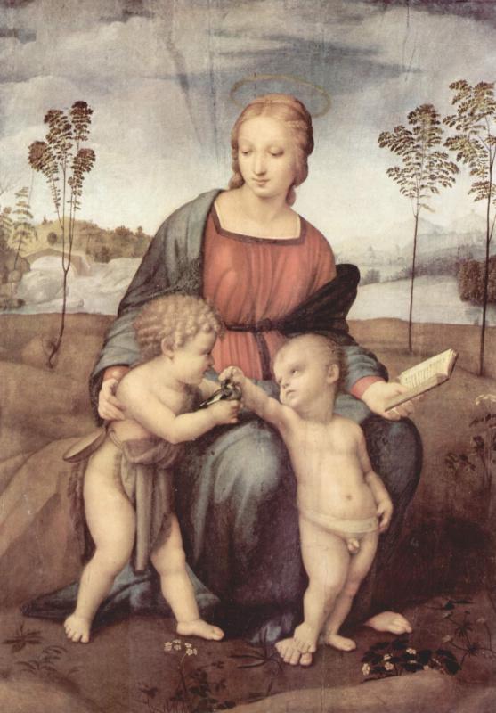 Рафаэль Санти. Мадонна со щеглом. Мария с младенцем и Иоанном Крестителем