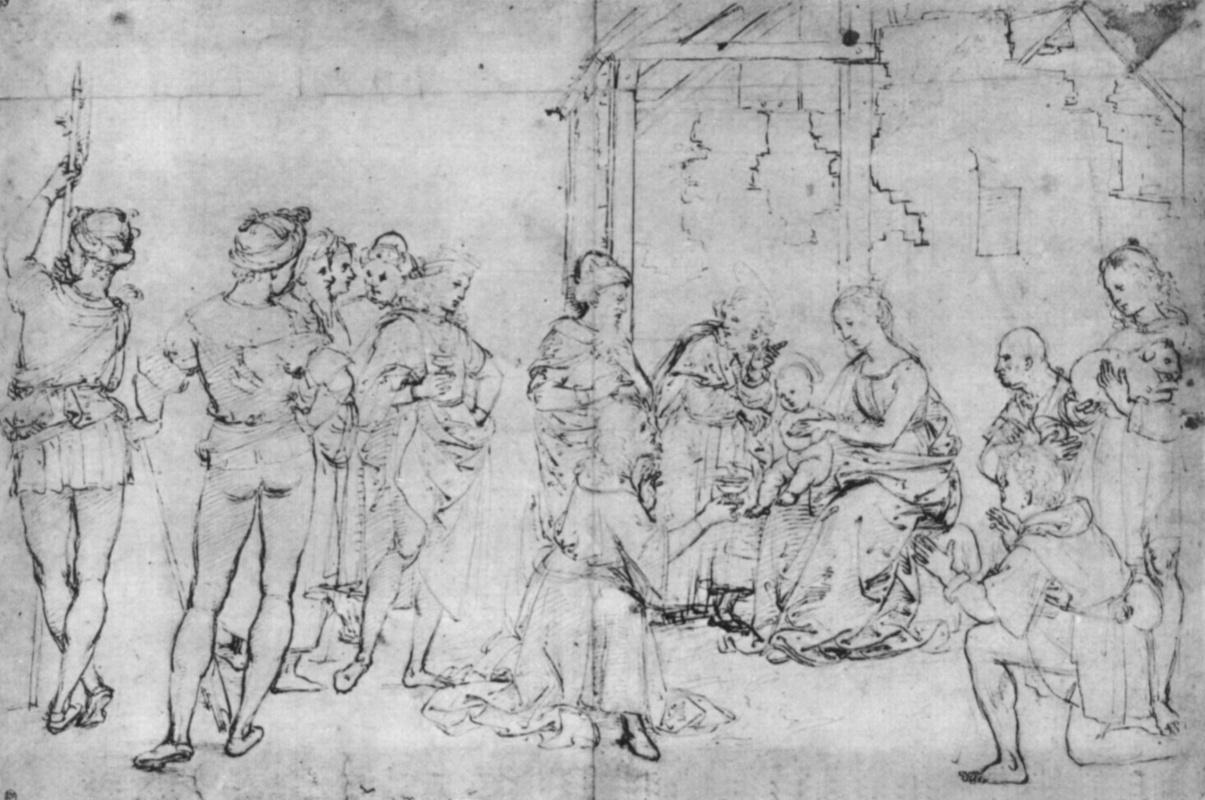 Raphael Sanzio. The adoration of the Magi. Sketch predelli chapel of Oddi