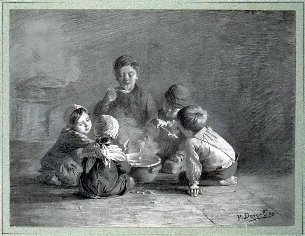 Поль Дессель. Дети за едой