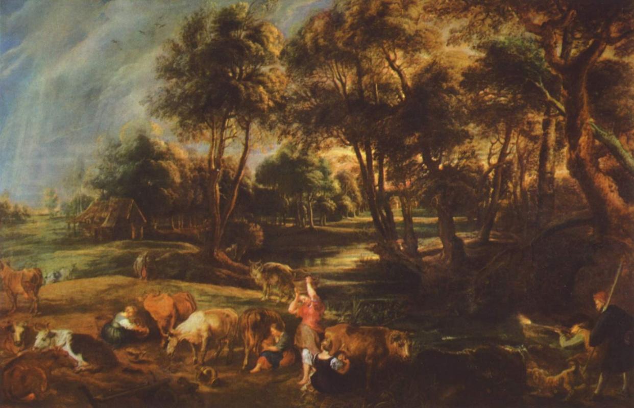 Питер Пауль Рубенс. Пейзаж со стадом коров и охотниками на уток