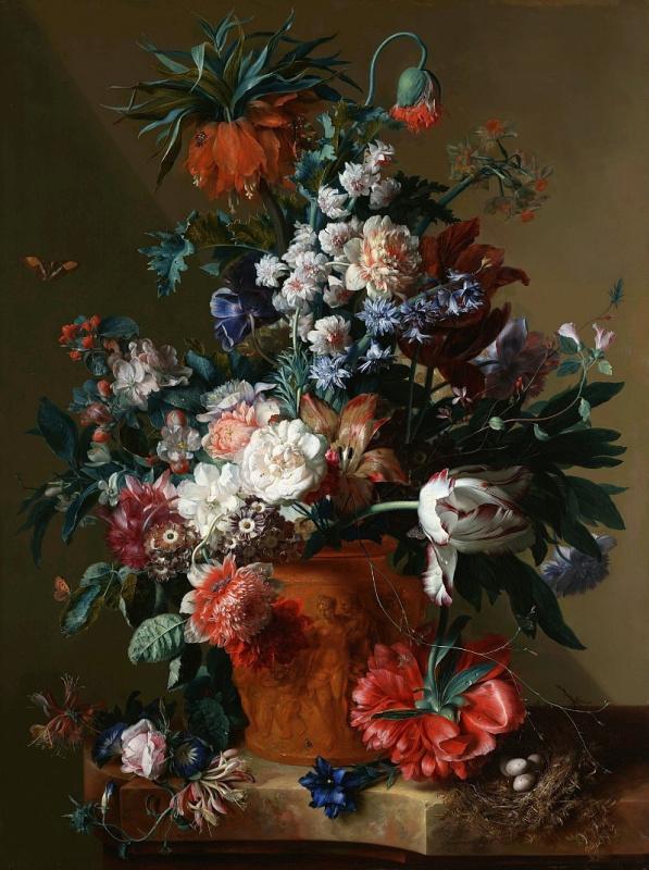 Jan van Hayesum. Flowers in a vase