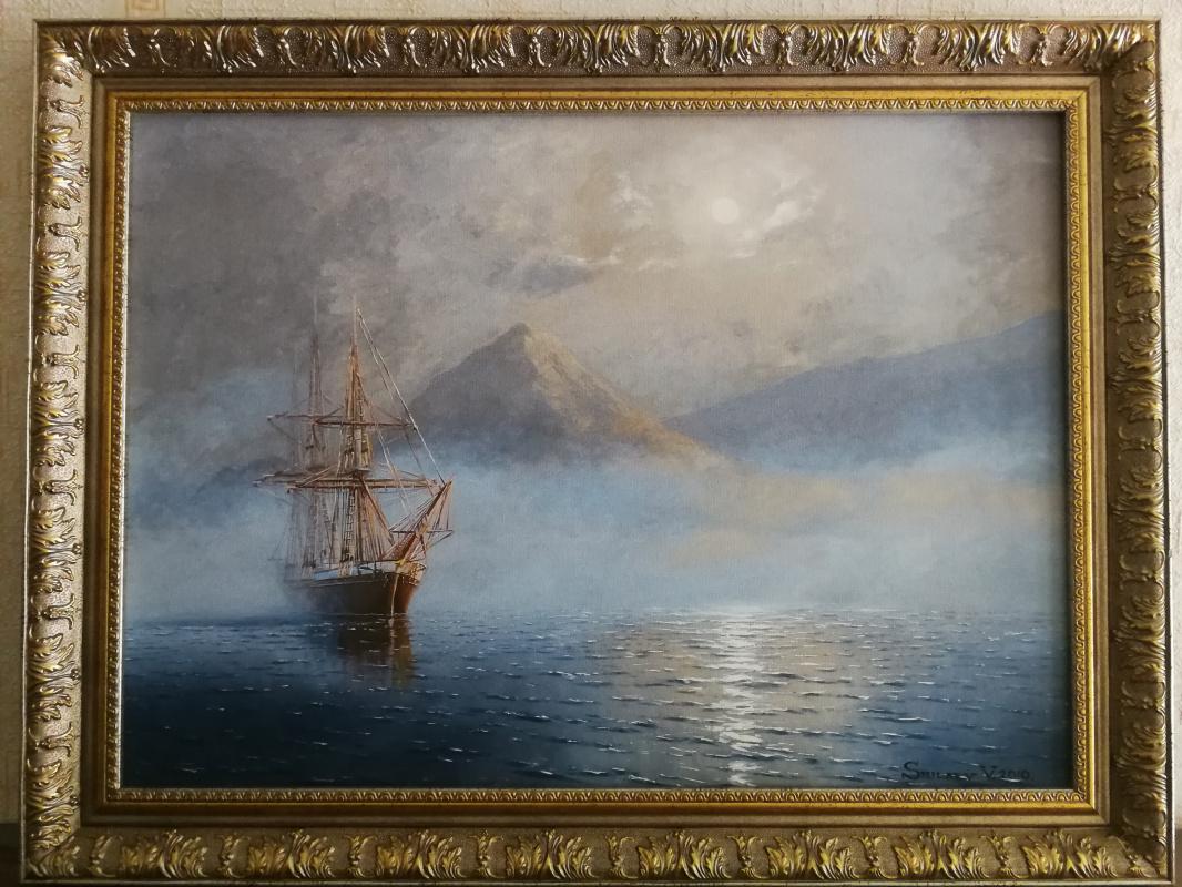 Неизвестный  художник. Морской пейзаж с кораблем