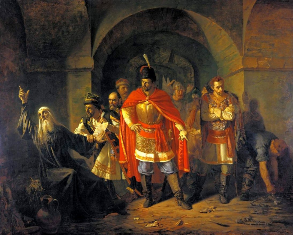 Pavel Petrovich Chistyakov. Patriarch Hermogenes refuses poles to sign the letter