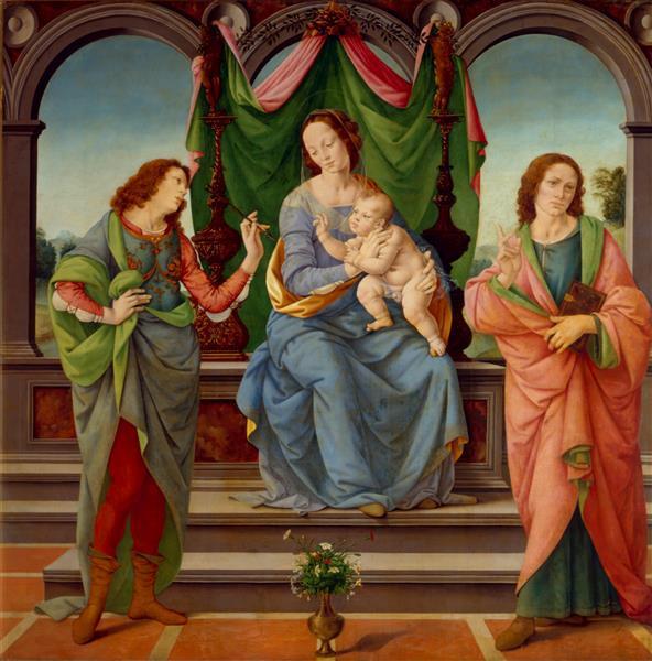Lorenzo di Credi. Madonna and child with Saints Sebastian and John the Evangelist