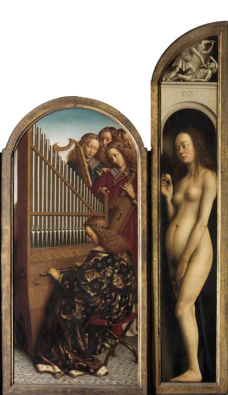 Губерт ван Эйк. Гентский алтарь. Правая створка: Ева и музицирующие ангелы (фрагмент)