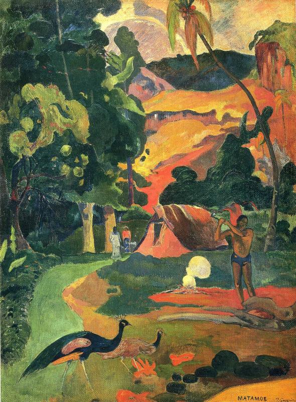 Поль Гоген. Пейзаж с павлинами