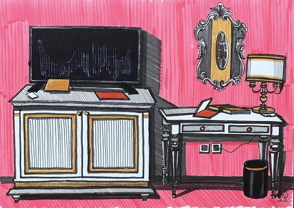 Larissa Lukaneva. Phu Quoc. Room. Sketch.