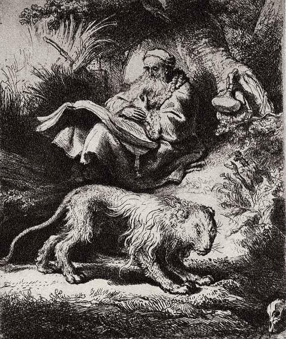 Рембрандт Ван Рейн. Читающий святой Иероним под деревом