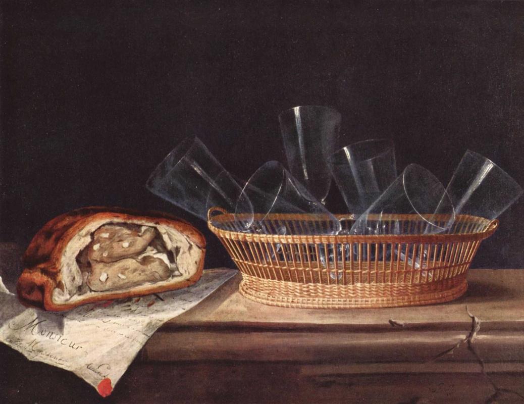 Себастьян Штоскопф. Корзина со стаканами, паштет и письмо