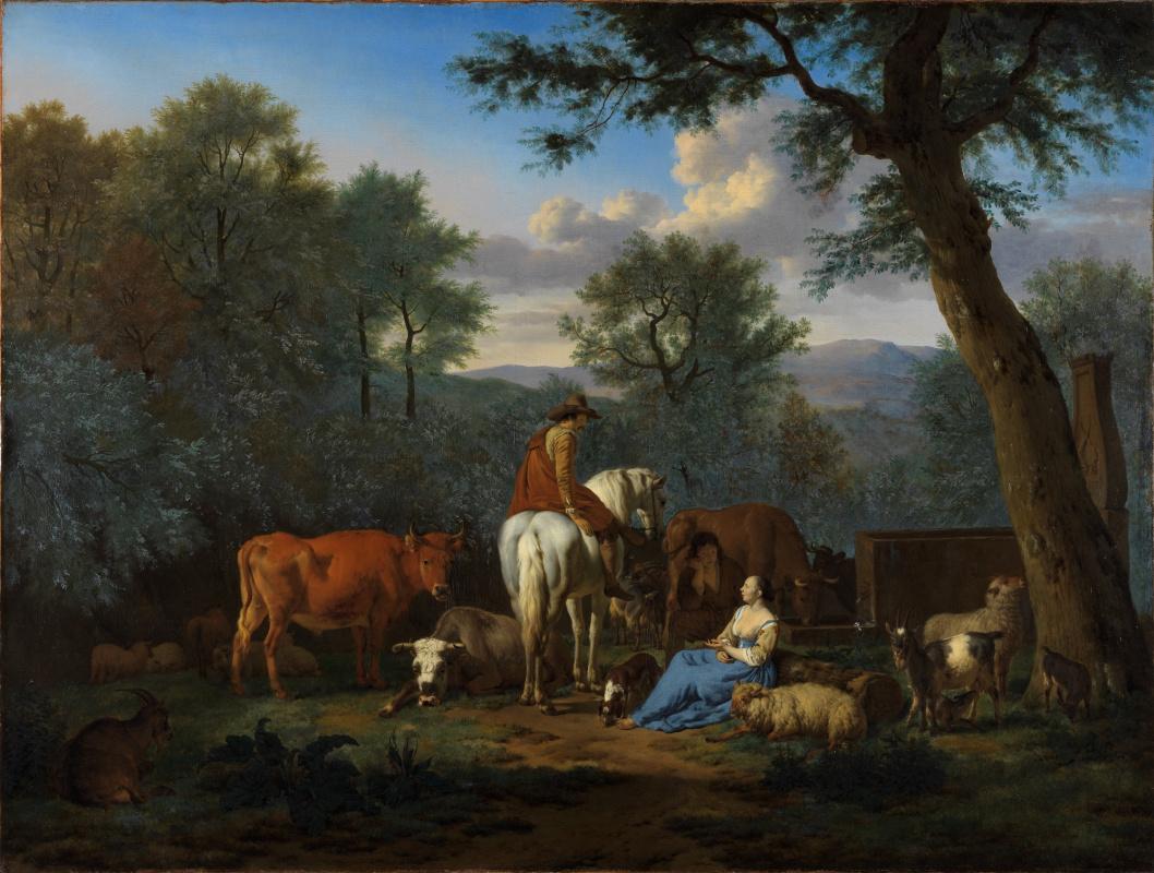 Адриан ван де Вельде. Пейзаж с людьми и коровами