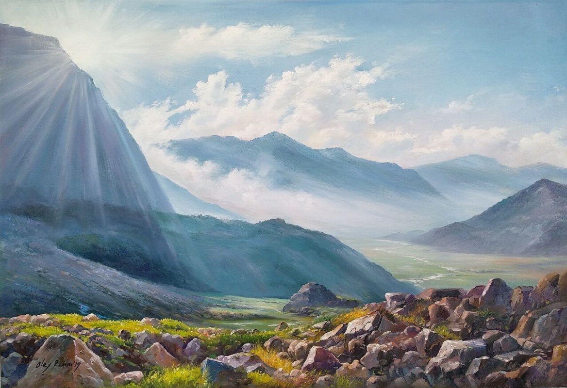 Alexander Romm. Among the mountain peaks where the river flows ...