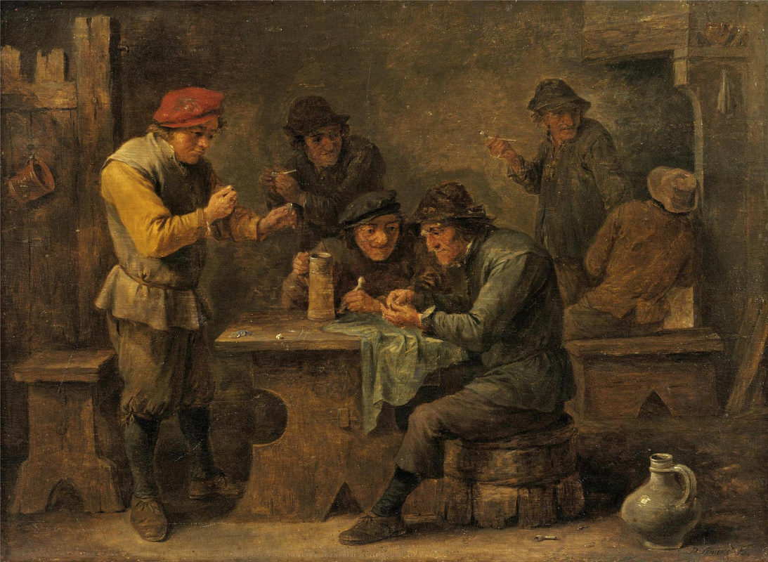 David Teniers the Younger. Peasants playing dice