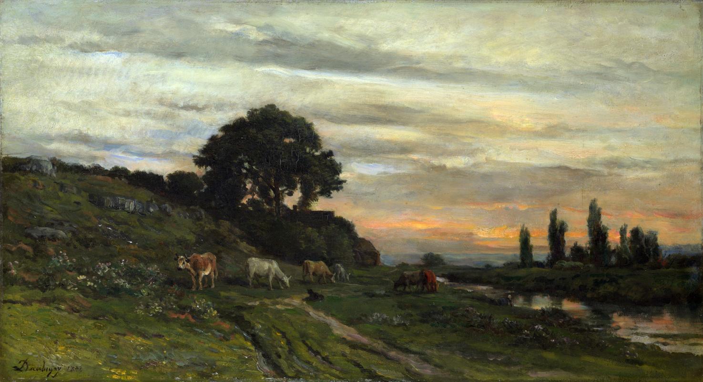 Шарль-Франсуа Добиньи. Пейзаж с крупным рогатым скотом