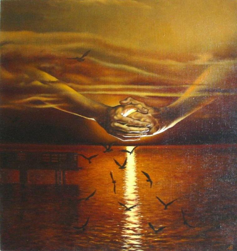 Vladimir Vasilyevich Abaimov. Seagulls at sunset