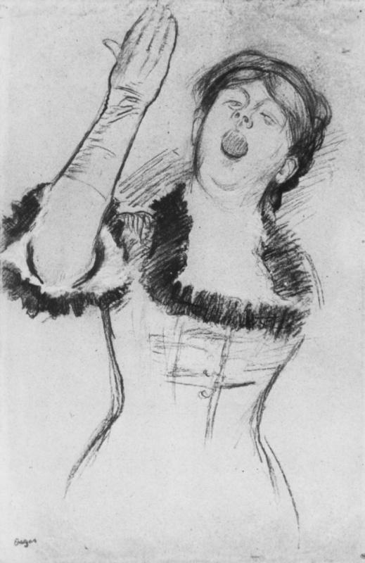 Выступление певицы в кафе-шантане (эскиз) Эдгар Дега 1879