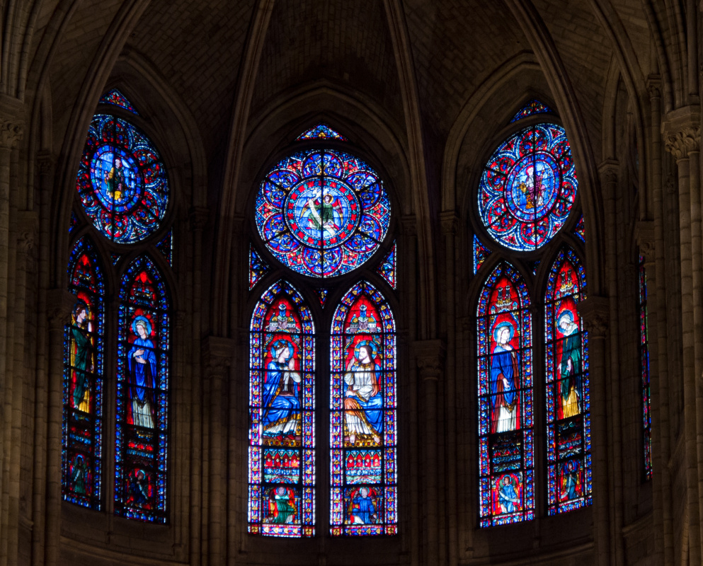 Pierre Montallier. Stained glass window of the apse of the Cathedral of Notre Dame de Paris