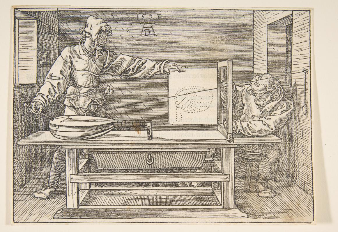 Albrecht Durer. Artist drawing a lute