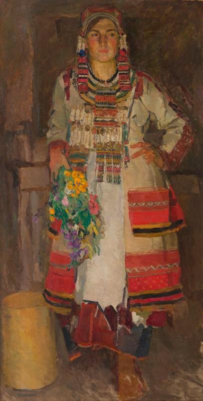 Портрет дочери художника Марьяны Кричевской в мордовском костюме 1939  Марьяна – скульптор, вышла за
