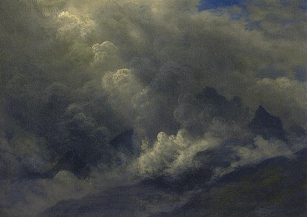Альберт Бирштадт. Туман и облака над горами. Этюд