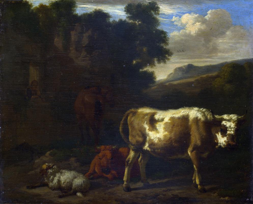 Ван ден Берген Дирк. Двое телят, овец и лошадей в руинах
