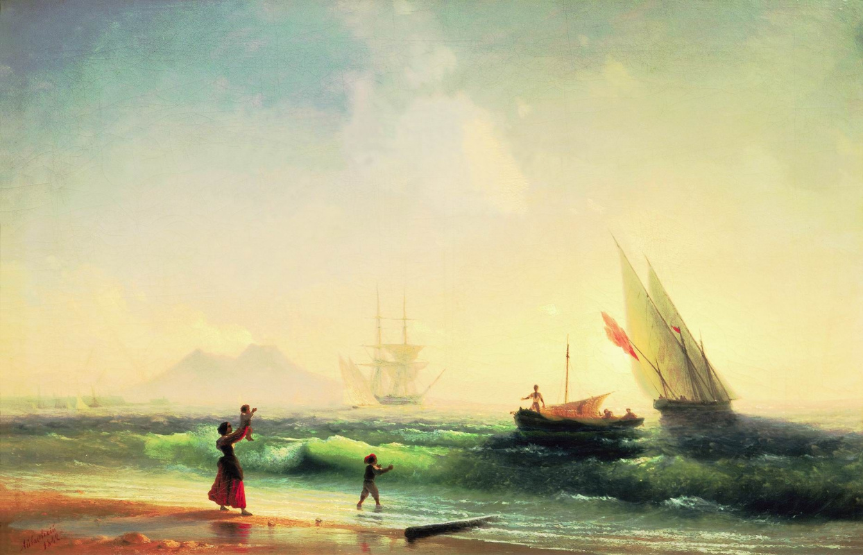 Ivan Aivazovsky. Meeting of fishermen on the shore of the Bay of Naples