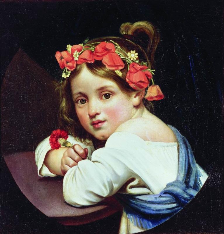 Orest Adamovich Kiprensky. Girl in poppy wreath with a carnation in her hand