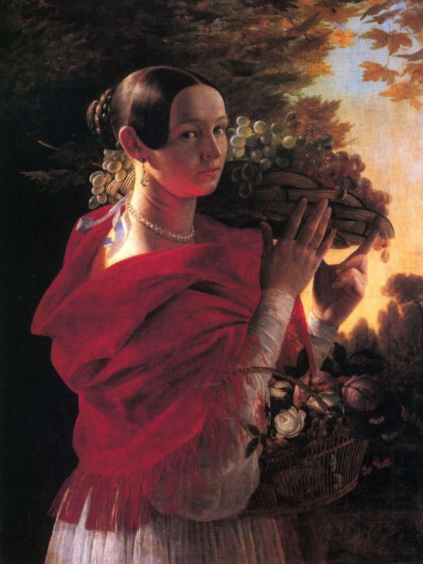 Ivan Fomich (Trofimovich) Khrutsky. Portrait of young woman with basket