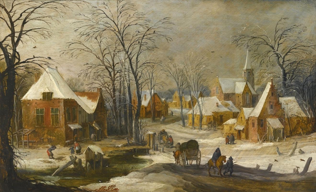 Jan Bruegel The Elder. Winter landscape with travelers. (joint with Jos de Momper Jl)