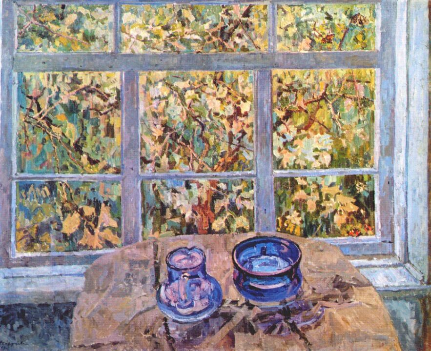 Kopestseva. Still life with blue tableware