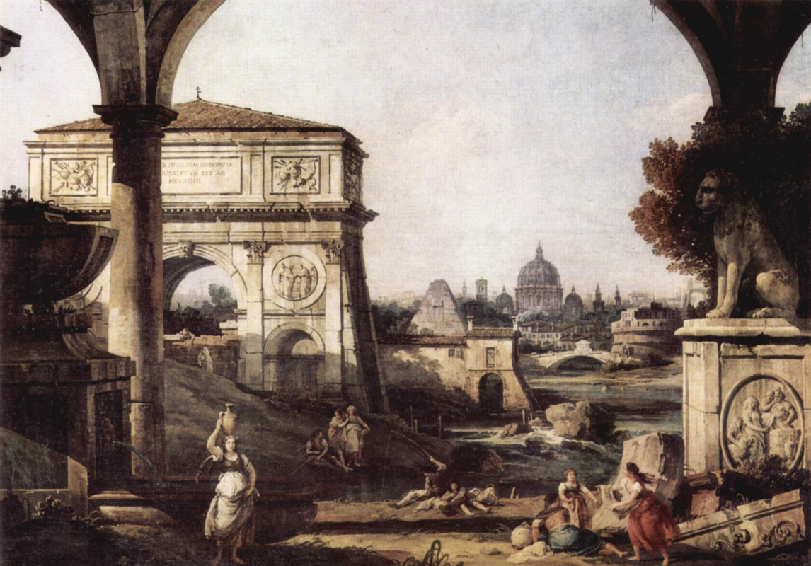 Giovanni Antonio Canal (Canaletto). Roman Capriccio, the arch of Titus