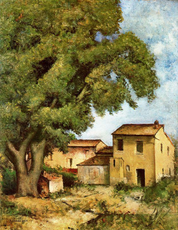 Карло Карра. Старое дерево у дома